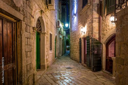 obraz PCV Kotor historical town narrow street