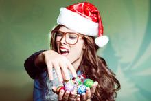 Funny Woman In Xmas Santa Hat ...
