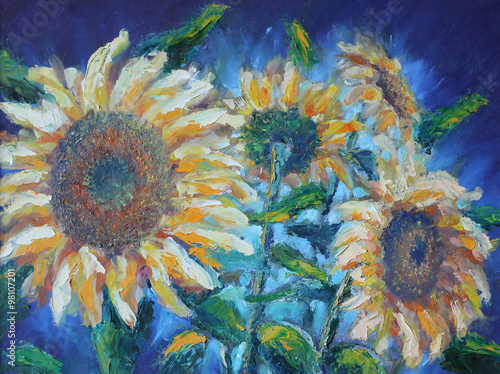 sunflowers, oil painting #98107201