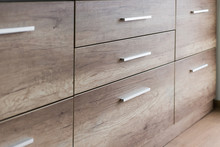 Wooden Kitchen Drawers With Silver Handles