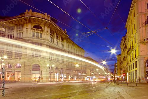 Spoed Fotobehang Milan Fast moving cars at night