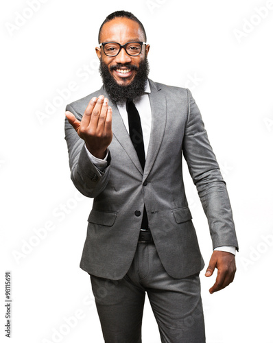 Photo  business black man come here gesture
