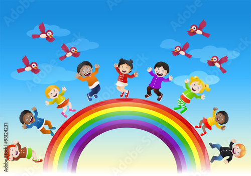 Deurstickers Regenboog happy various children on top of rainbow bridge