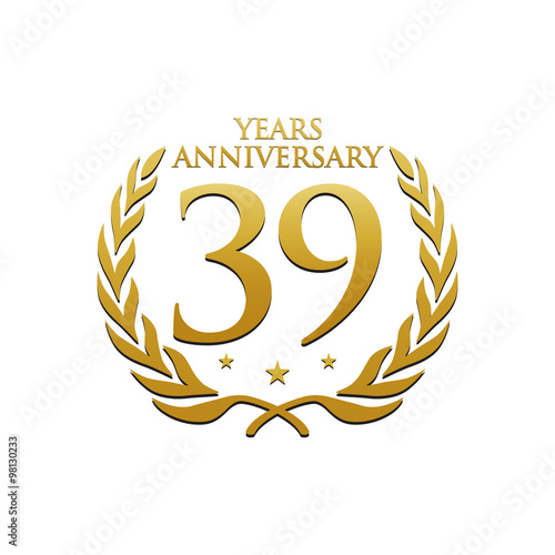 Poster Simple Wreath Anniversary Gold Logo 39