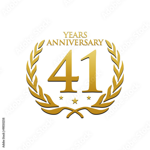 Poster  Simple Wreath Anniversary Gold Logo 41