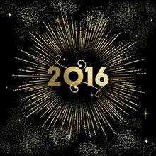 New Year 2016 Gold Firework Greeting Card