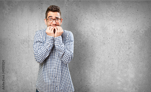 Fotografie, Obraz  nervous man on white