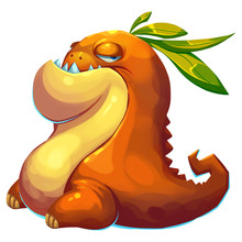 Illustration: The Fat Mud Monster Of Fantastic Forest Isolated On White Background. Realistic Fantastic Cartoon Style Character / Monster / Creature Design.