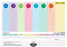 Calendar 2016 Colorful Week Pl...