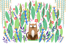 Illustration For Children: The Cat Has A Fresh Comfortable Enjoying When Hidden In The Nature. Realistic Fantastic Cartoon Style Artwork / Story / Scene / Wallpaper / Background / Card Design
