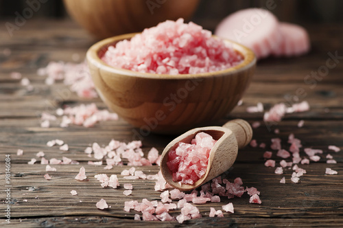Fotografie, Obraz  Concept of spa treatment with pink salt
