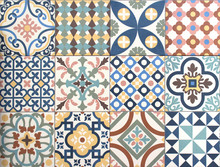 Colorful, Decorative Tile Pattern Patchwork Design