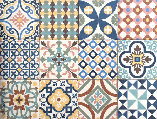 colorful, decorative tile pattern patchwork design Fototapete