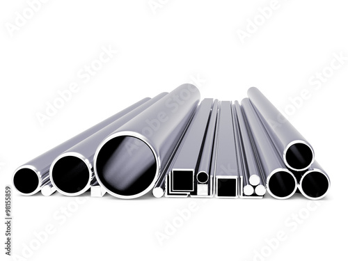 Round and square metal tubes of various shapes isolated on a