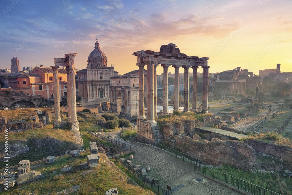 Fototapety, obrazy: Roman Forum. Image of Roman Forum in Rome, Italy during sunrise.
