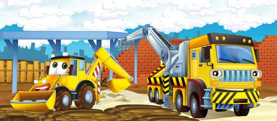 fototapeta ciężarówka i koparka - ilustracja dla dzieci