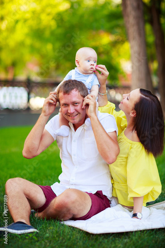 Fotobehang School de yoga Portrait of a father, mother and baby