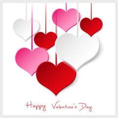 Fototapeta Walentynki happy valentine with hanging colorful hearts eps10