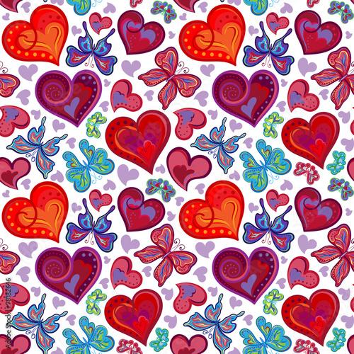 Materiał do szycia Bezszwowe valentine wzór kolorowe vintage czerwone i niebieskie motyle, kwiaty, serca. Ilustracja wektorowa