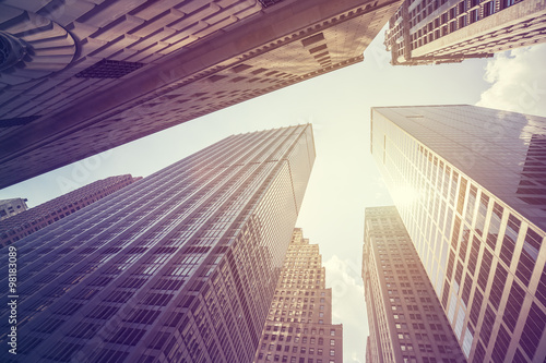 Keuken foto achterwand Amerikaanse Plekken Vintage stylized photo of skyscrapers in Manhattan at sunset, NY