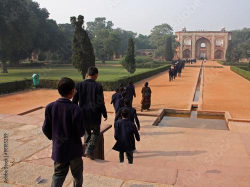 Delhi, les jardins du fort Rouge, Inde