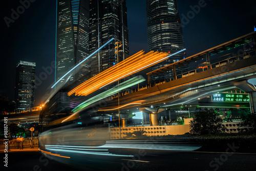 Modern city at night. Shanghai Lujiazui finance street. Poster