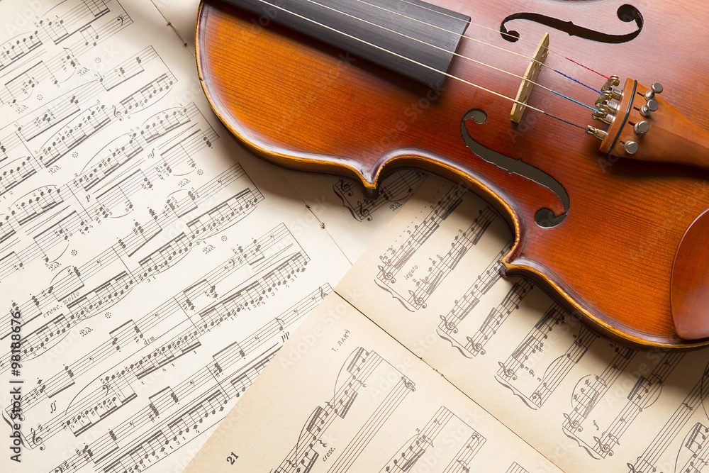 Fototapeta Vintage violin on the  sheet music.