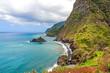 Mountains and ocean, northern coast near Boaventura, Madeira
