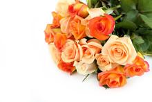 Bouquet Of Orange Roses On Whi...