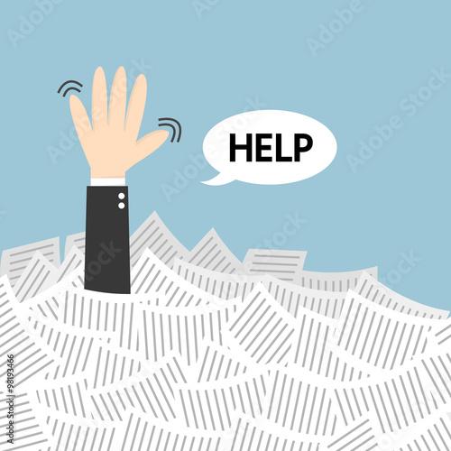 Fotografie, Obraz  Businessman need help under a lot of white paper, flat design
