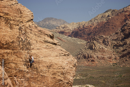 Rock climbing in the Red Rock National Conservation Area, located minutes outside of Las Vegas and the famed Las Vegas Strip Poster