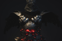 Gladiator, Silver Armor Skull With Red Eyes And Led Lights, Helm