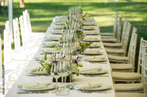 Luxury Wedding Lunch Table Setting Outdoors Buy This Stock Photo
