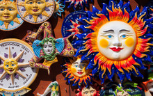 Traditional Souvenirs Of Ceramics And Trinacria Is Symbol Of Sicily, Italy.