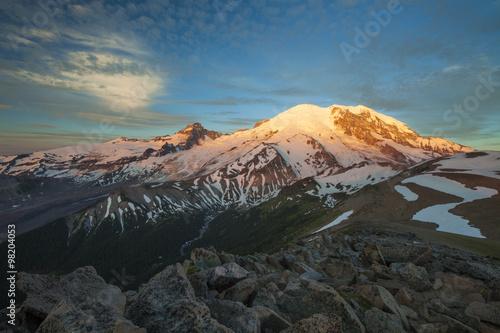 Alpenglow illuminates the NE face of Mount Ranier. Poster