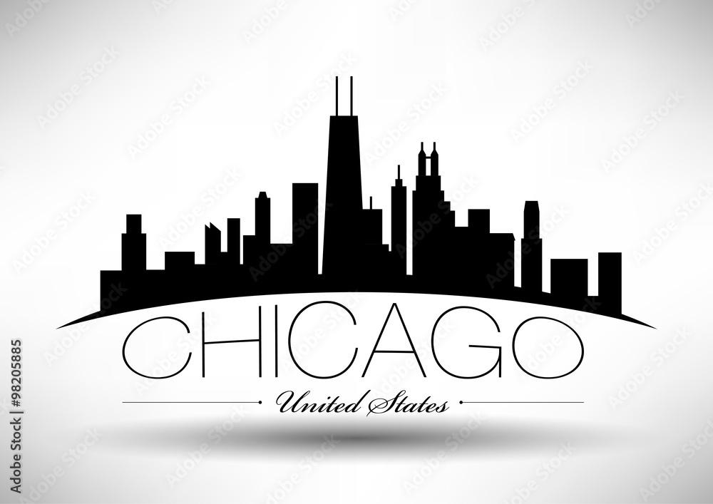 Photo & Art Print Vector Chicago Skyline Design with Typography ...