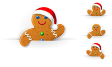 Set Of Christmas Gingerbread Mans Looks Out From A Horizontal White Paper Sheet