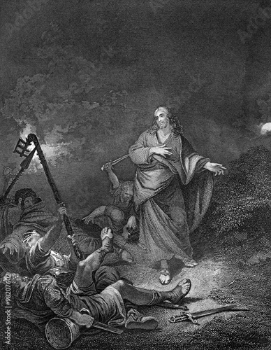 Canvas-taulu An engraved vintage illustration image of the Betrayal of Jesus Christ by Judas,