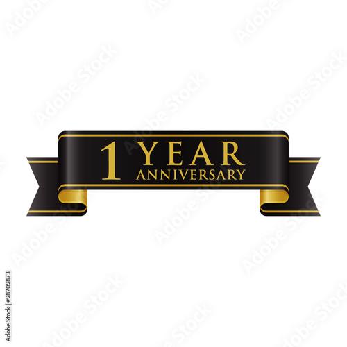 simple black gold ribbon anniversary logo 1 buy this stock vector