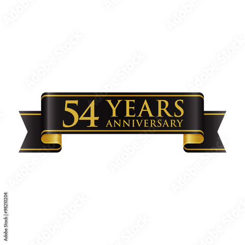 Poster  Simple Black Gold Ribbon Anniversary logo 54