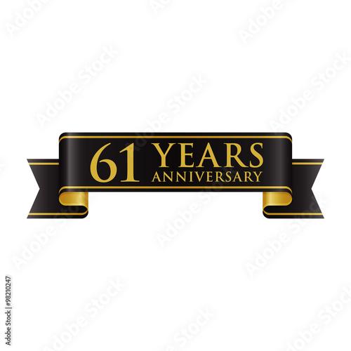Poster  Simple Black Gold Ribbon Anniversary logo 61