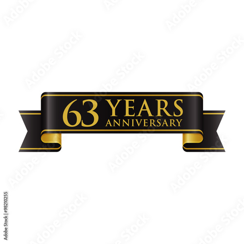 Poster  Simple Black Gold Ribbon Anniversary logo 63