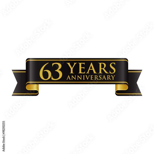 Fotografia  Simple Black Gold Ribbon Anniversary logo 63