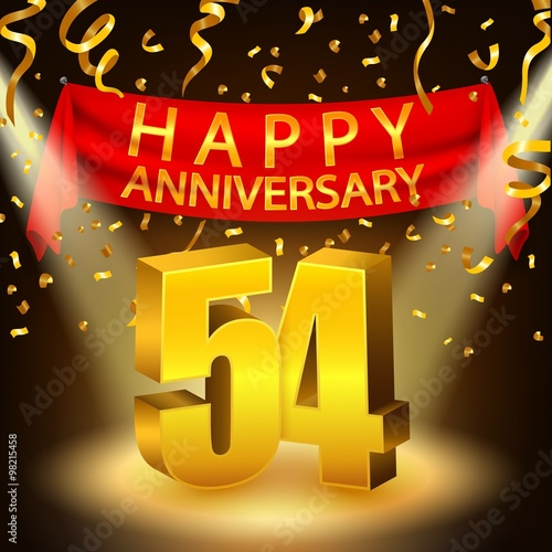 Poster  Happy 54th Anniversary celebration with golden confetti and spotlight