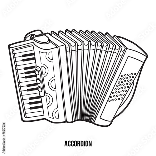 Fotografía  Coloring book for children: musical instruments (accordion)
