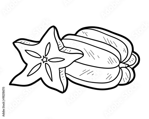 Coloring Book Fruits And Vegetables Star Fruit