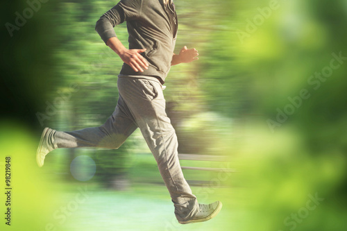 running man in park - partial image of man, with healthy lifestyle