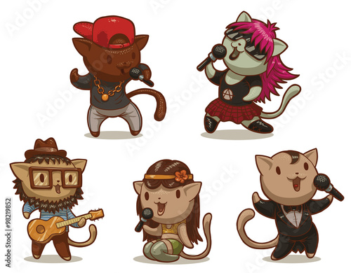Photo  Vector Set of five cats singing songs in different styles