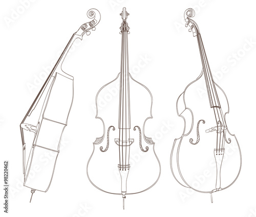 Tableau sur Toile contrabass drawing on white. vector illustration