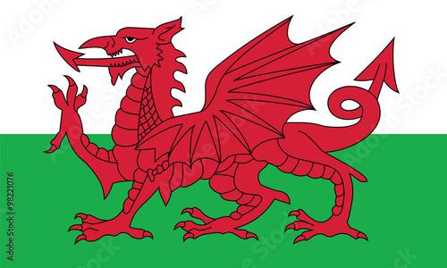 Plakat Wektor walijski flagi.
